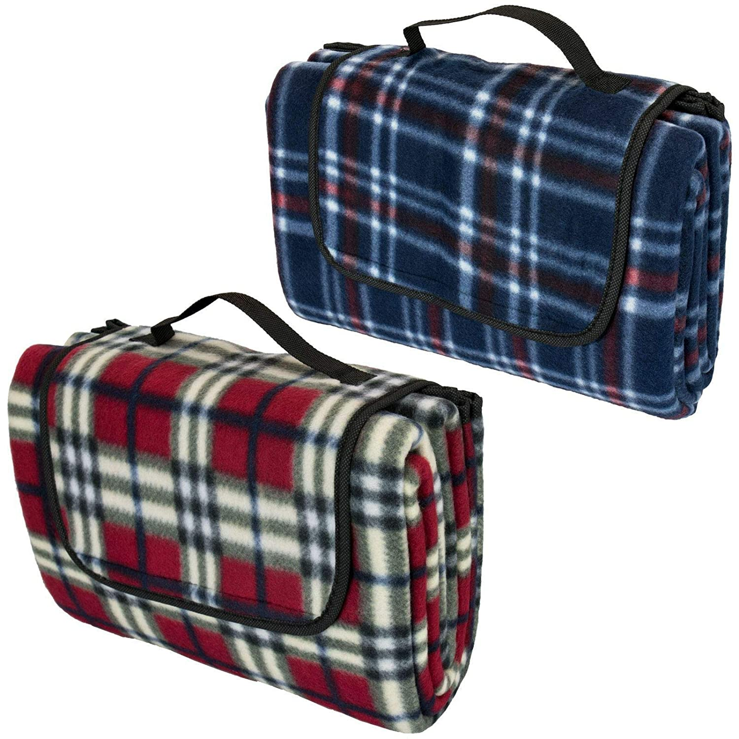 Red GLOW Folding Picnic Blanket Compact and Foldable with Carry Handle Ideal for Park BBQ Beach Home Garden Comfortable Large Padded Tartan Fleece Travel Camping Mat with Waterproof Backing