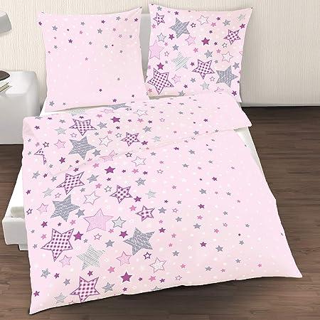 Ropa de cama infantil con diseño de estrellas, color lila, rosa, 1 funda de almohada de 80 x 80 + 1 funda nórdica de 135 x 200 cm, 100% algodón reforzado: Amazon.es: Hogar