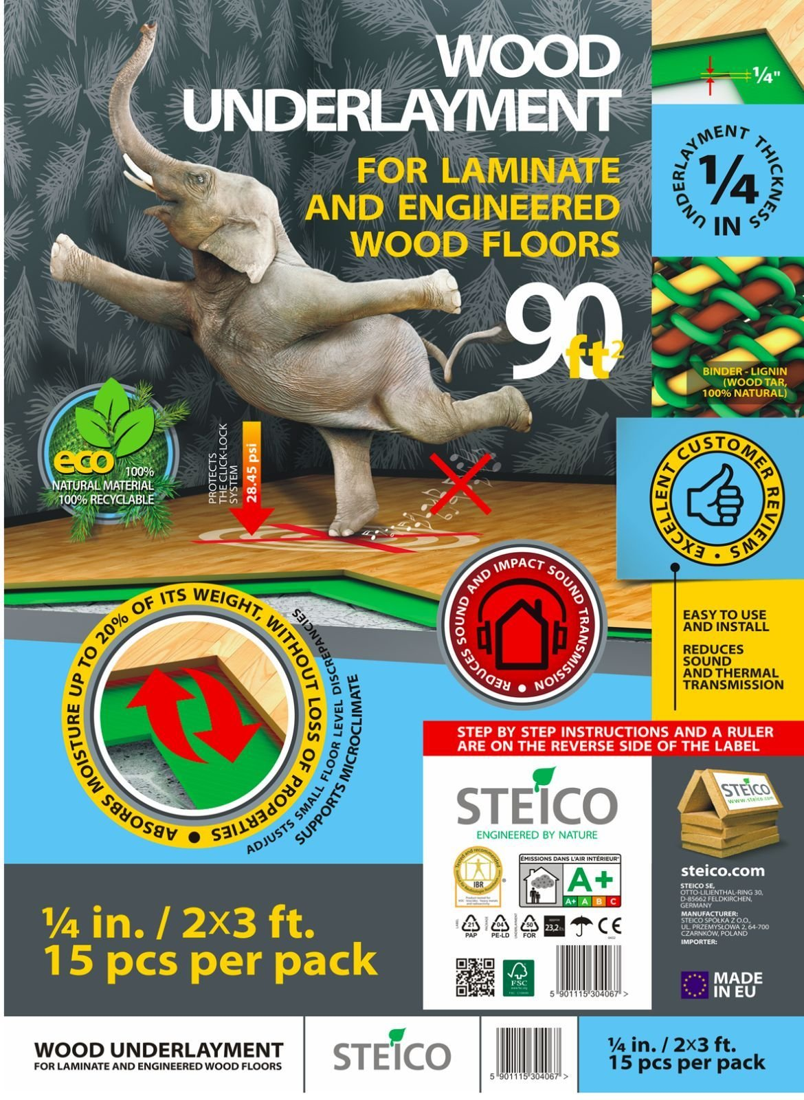 STEICO 4 in 1 soft Underlayment for laminate, engineered wood floor, vinyl, LVT/LVP 6mm 1/4 Inch 90 SqFt with soundproofing natural green wood fibre and excellent airborne and impact sound insulation by STEICO (Image #1)