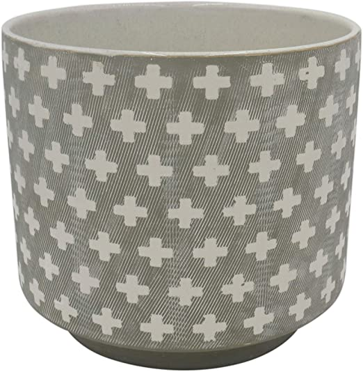 Stone /& Beam Modern Rustic Ceramic Planter White//Terra Cotta 5 H