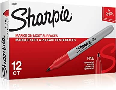 Sharpie Permanent Markers, Fine Point, Red, 12 Count