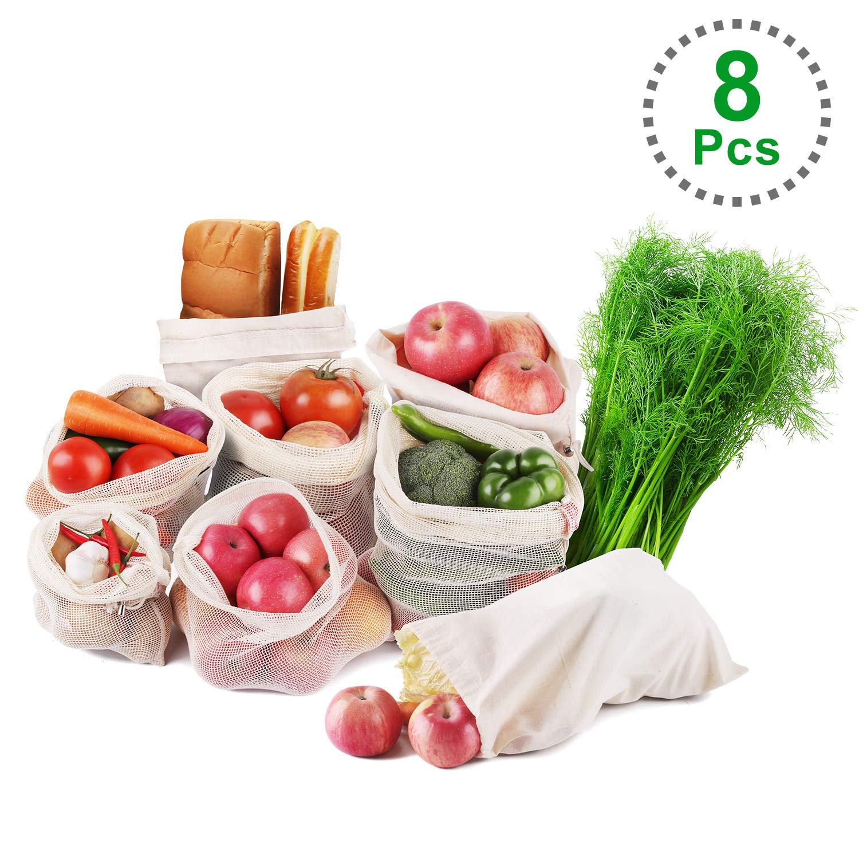 TOPLANET 8*PCS Bolsas de Vegetales y Fruta Algodon Organico Bolsas Lavable Reutilizable de Producir Bolso para Compras/Almacenar/Viajar