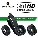 Cell Phone Camera Lenses - Macro Lens Kit - Wide Angle Lens Kit, Clip-On Cell Phone Camera Lenses for iPhone 7/6/5/4, Android/ Samsung s7/s7 Edge/s6/s6 Edge Mobile Smartphone