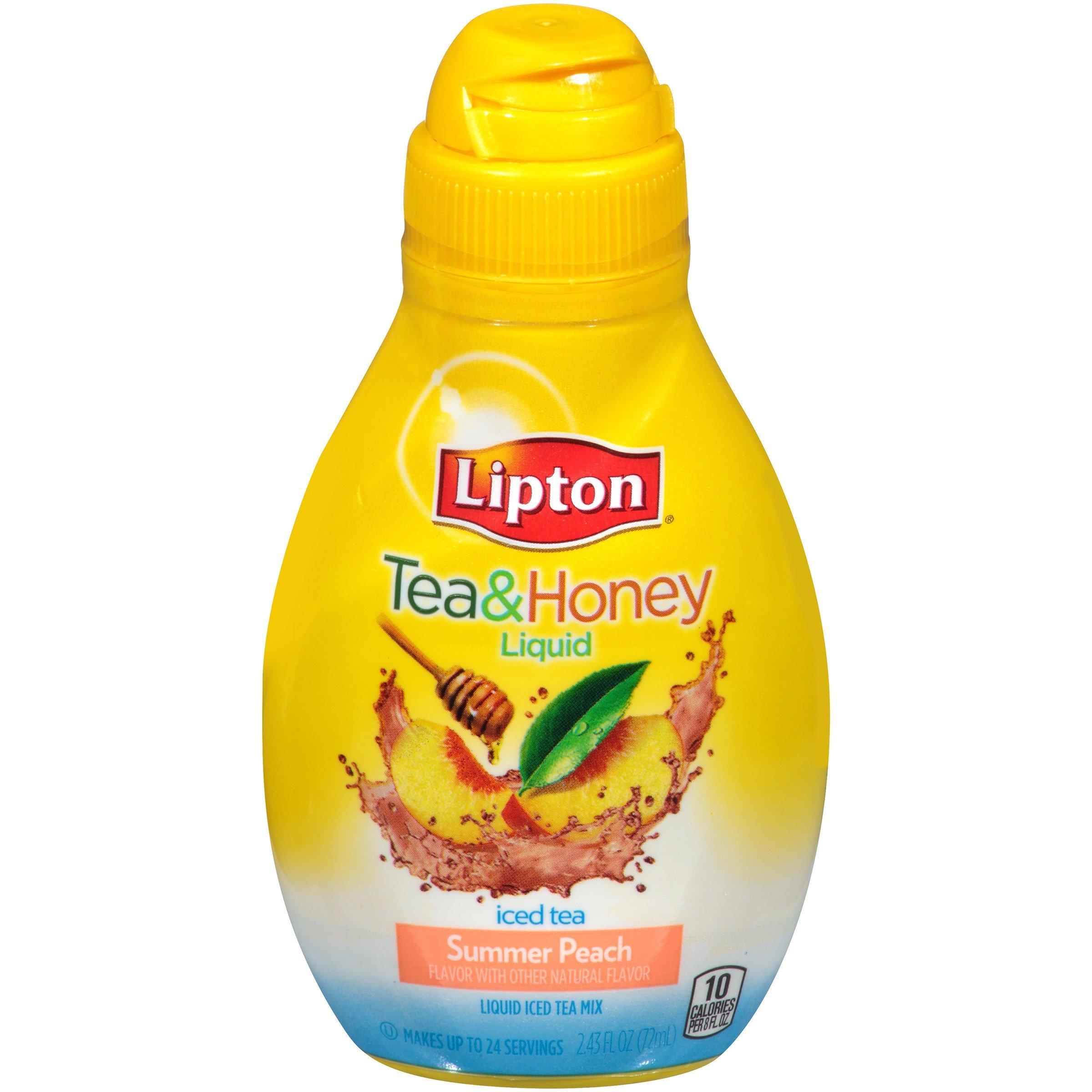 Lipton Summer Peach Liquid Iced Tea Mix, 2.43 Fluid Ounce - 8 per case.