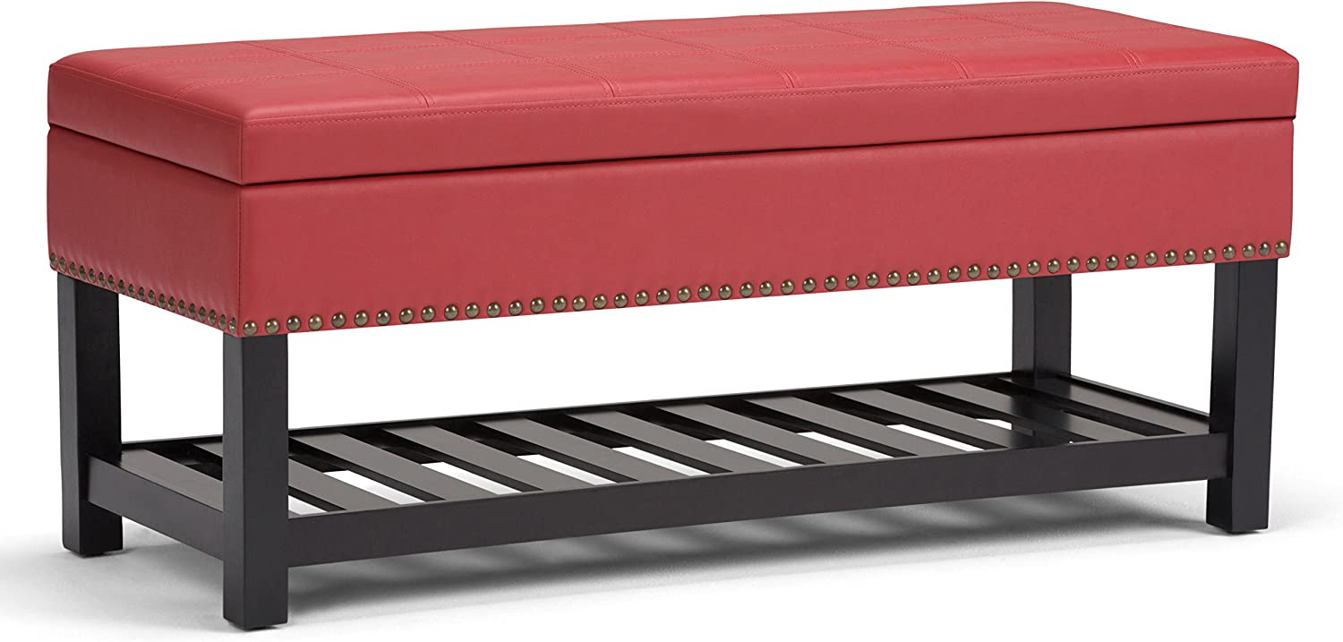 Simpli Home Radley 44 inch Wide Transitional Rectangle Storage Ottoman Bench in Crimson Red Faux Leather