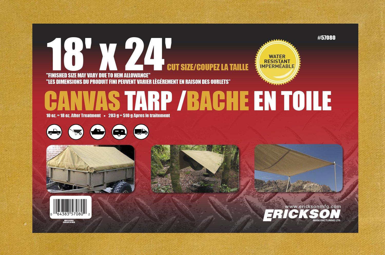 Erickson 57080 Canvas Tarp 18 x 24 18/' x 24/'