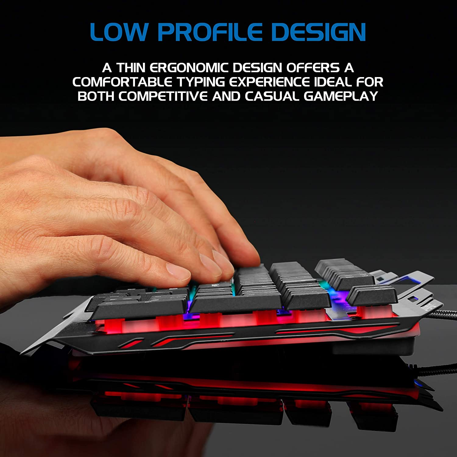Turbo Input Mode 19 Key Roll Over ENHANCE Infiltrate KL2 Membrane Gaming Keyboard Quiet Keyboard with 3 Multi Color LED Lighting Modes Slim Low Profile Metal Design Anti-Ghosting