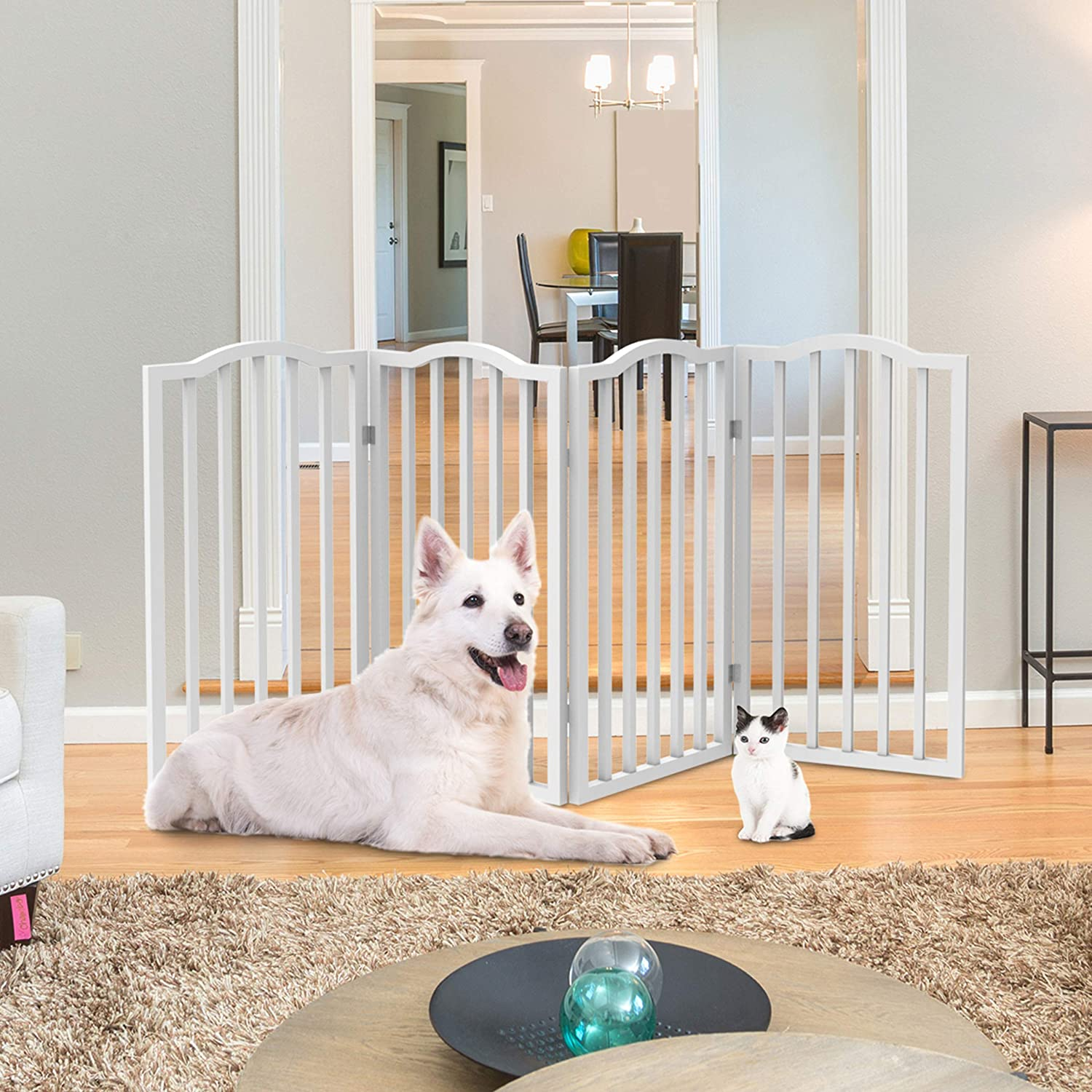 PETMAKER Wooden Pet Gate- Tall Freestanding 4-Panel Indoor Barrier Fence, Foldable with Decorative Arches for Dogs, Puppies, Pets- 72 X32 (White)