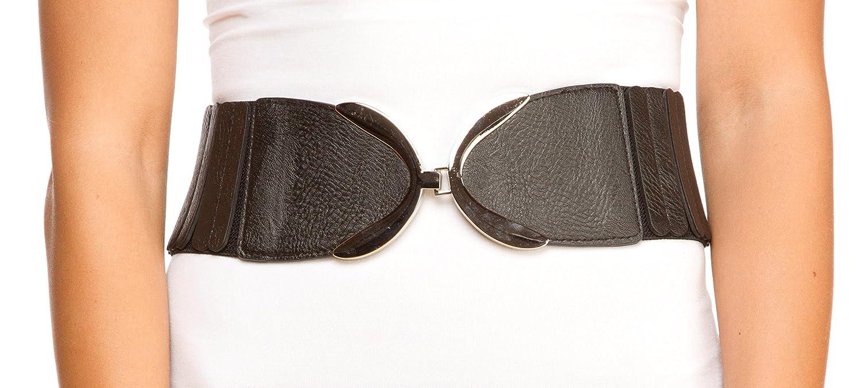 "Sunny Belt Women's Wide Popsicle Design Black & Metal Buckle Waist 3"" Belt"