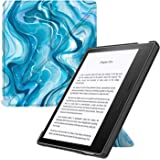 MoKo Case Fits All-New Kindle Oasis (9th and 10th Generation, 2017 and 2019 Release) ONLY, Hands-free Slim Shell Origami Stand Protective Cover with Auto Wake/Sleep - Blue Water Color