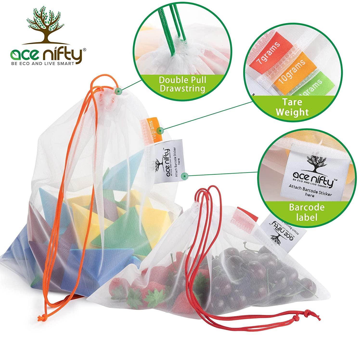 Ecological and Reusable Portable Bag 6 Bags Zero Waste Reusable Fruit and Veg Bags as Shopping Bag 2x S//M//XL Eco Reusable Mesh Produce Bags Ace Nifty Reusable Produce Bags from Recycled Bottles
