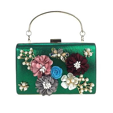 0a42fc128ca Three-dimensional flower evening bag square box pearl diamond clutch handbag  dinner bag hand carry banquet bag  Handbags  Amazon.com
