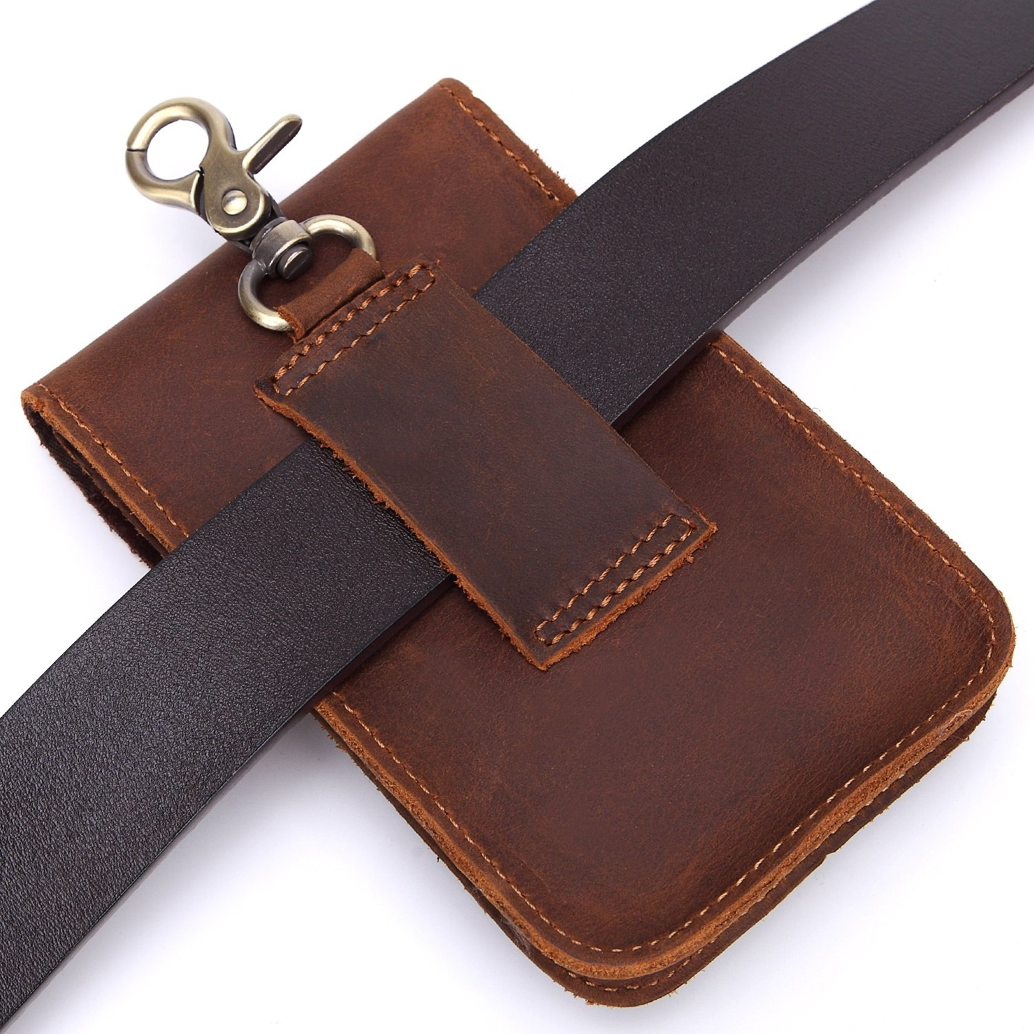 Color : Brown, Size : L DAYIYANG Special Design Mens Waist Bag Vintage Leather Small Bags First Layer Leather Multi-Function Belts Magnetic Buckle