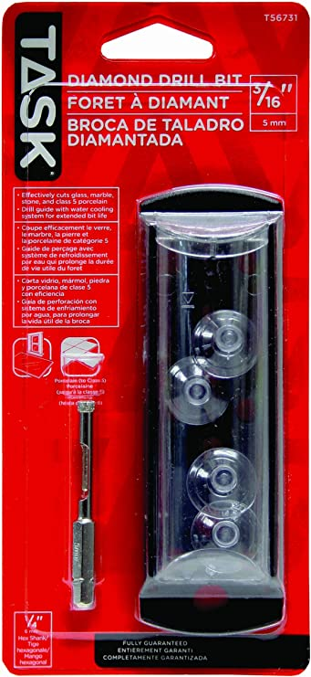 Task Tools T56731 Diamond Drill Bit with Water Cooling System and Bit Guide 3//16-Inch