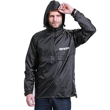 7767383315332 ZDHGLOBAL Rain Jacket Rain Poncho Raincoat for Men Rain Ponchos Waterproof  Jacket Unisex Raincoats Packable Black
