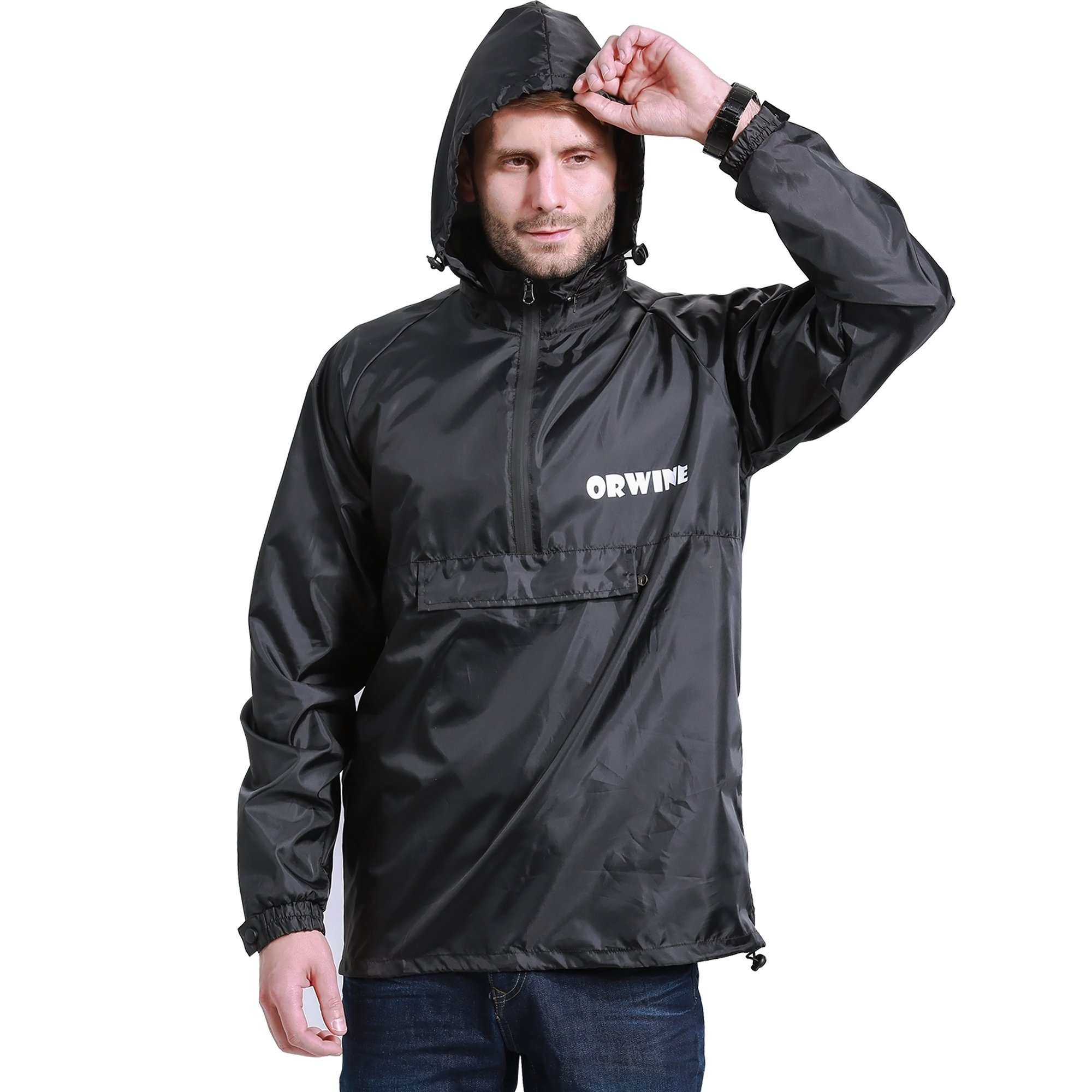 ZDHGLOBAL Men's Women's Lightweight Packable Portable Rain Jacket with Invisiable Hood and Front Pocket for Outdoor Activity 3XL Black by ZDHGLOBAL