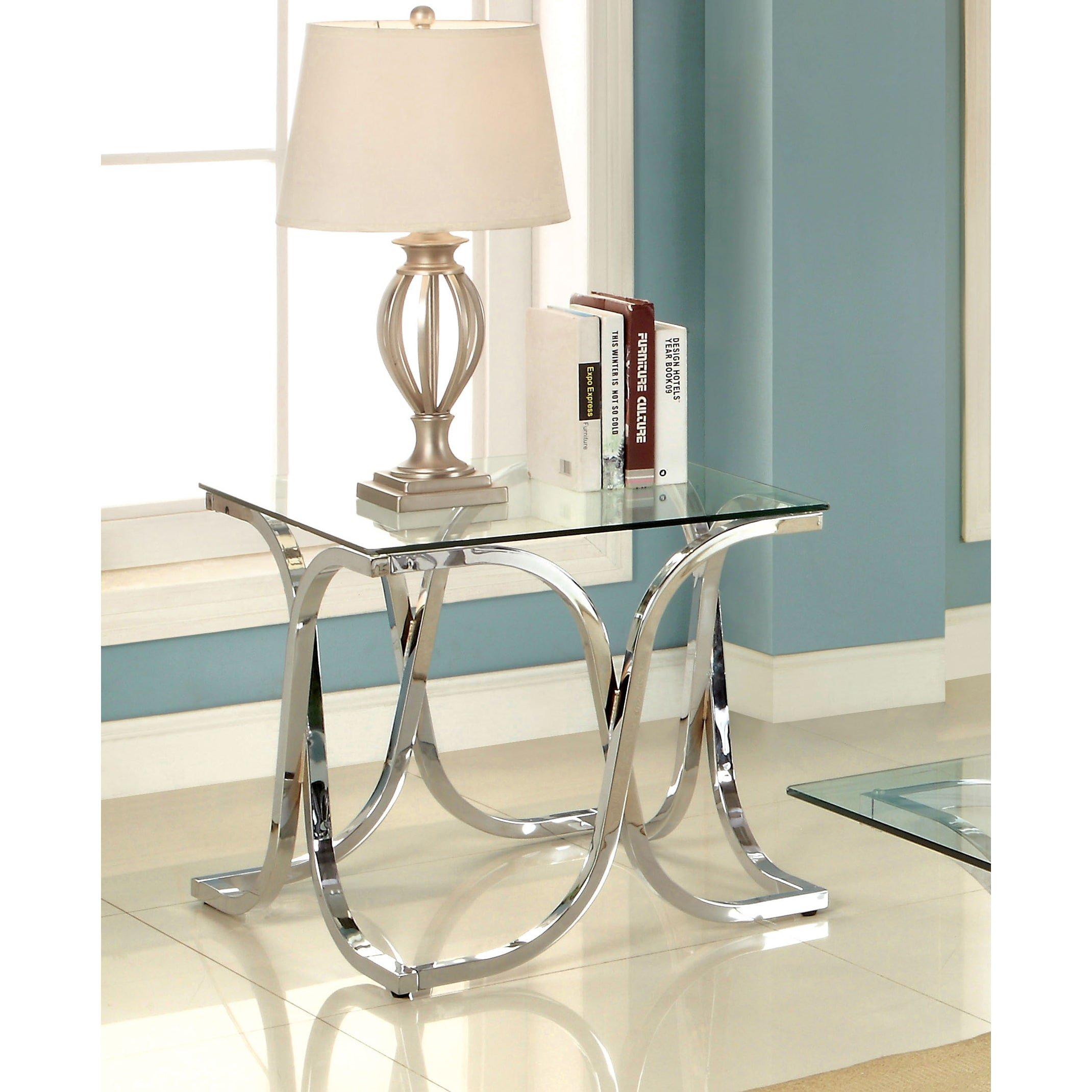 Furniture of America Artenia Modern Chrome End Table