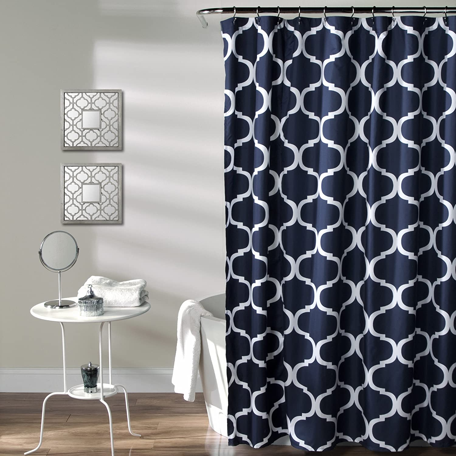 Amazon Lush Decor Geo Shower Curtain 72 Inches X Navy Home Kitchen
