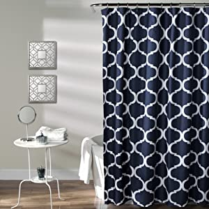 Lush Decor Geo Shower Curtain, Navy
