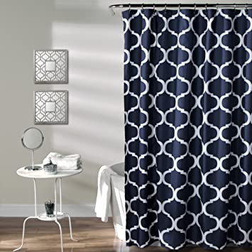 navy black and white pictures for bathrooms. Lush Decor Geo Shower Curtain  72 Inches X Navy Amazon com