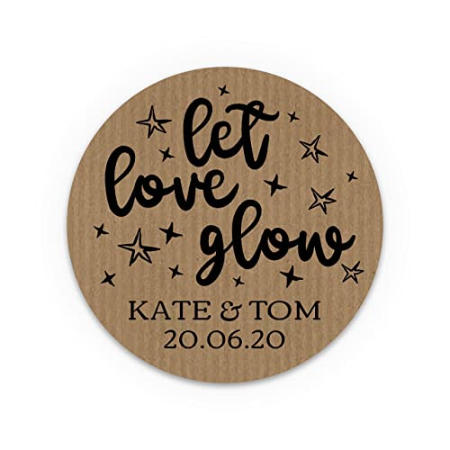 Bloomsprint wedding invitation favour stickers personalised wedding stickers let love glow custom labels wedding
