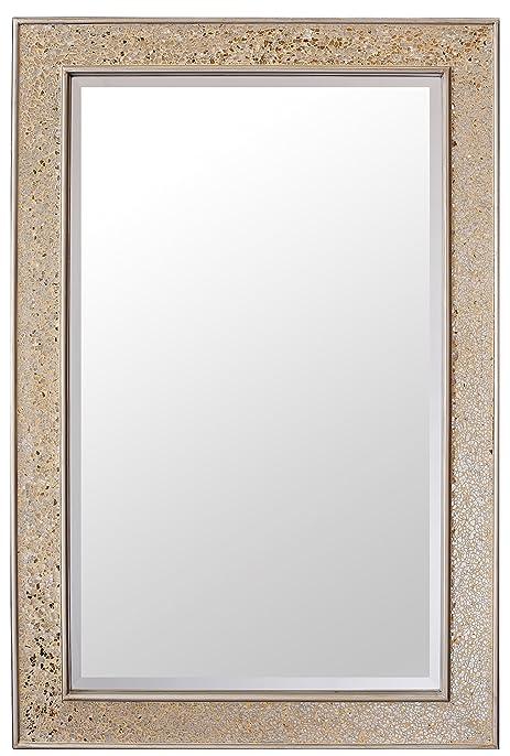 Grand Miroir Rectangulaire Doré Mosaïque - Salle De Bain, Salon Ou
