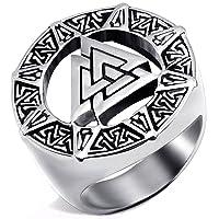Mendino pour homme en acier inoxydable Bague Band Viking Valknut Scandinavn islandais Odin Symbole Norse Couleur argent avec 1x étui en velours