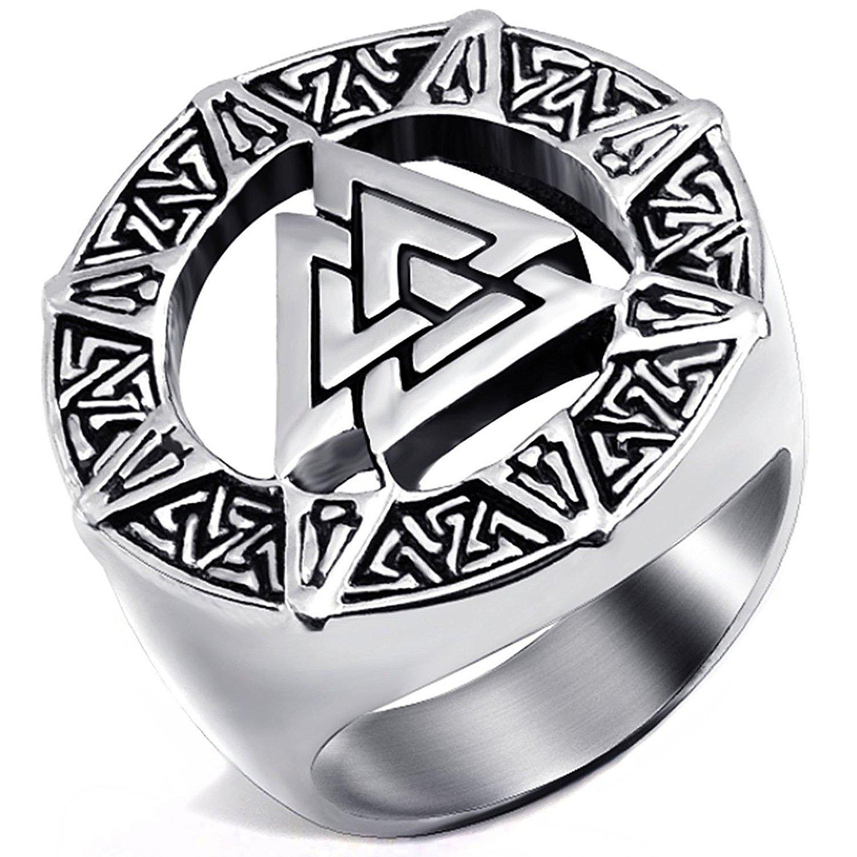 3f45f19ad36c7 MENDINO pour Homme en Acier Inoxydable Bague Band Viking Valknut Scandinavn  islandais Odin Symbole Norse Couleur