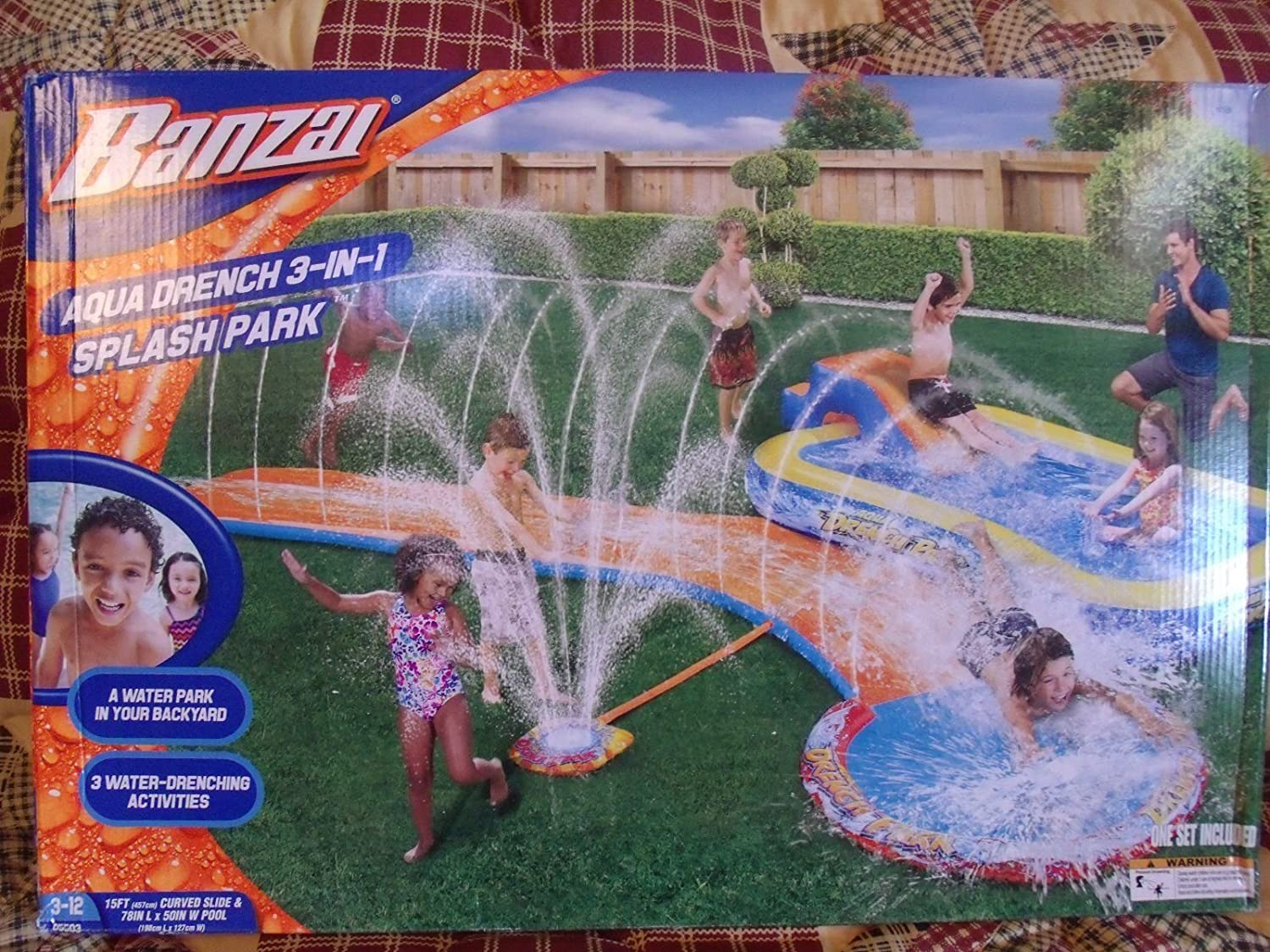 Spring & Summer Toys Banzai 15ft-Long Aqua Drench 3-in-1 Splash Park Pool Slide and Sprinkler by Banzai