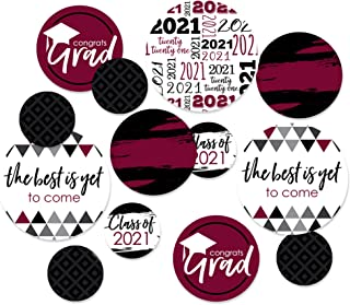 product image for Big Dot of Happiness Maroon Grad - Best is Yet to Come - 2021 Graduation Party Giant Circle Confetti - Burgundy Grad Party Decorations - Large Confetti 27 Count