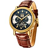 SURVAN Swiss Automatic Watch for Men Sapphire Crystal Mechanical Skeleton Wrist Watch 18k Yellow Gold Ion-Plated Leather Stra