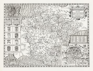 Uncoloured DEVONSHIRE 1610 Map by John Speed