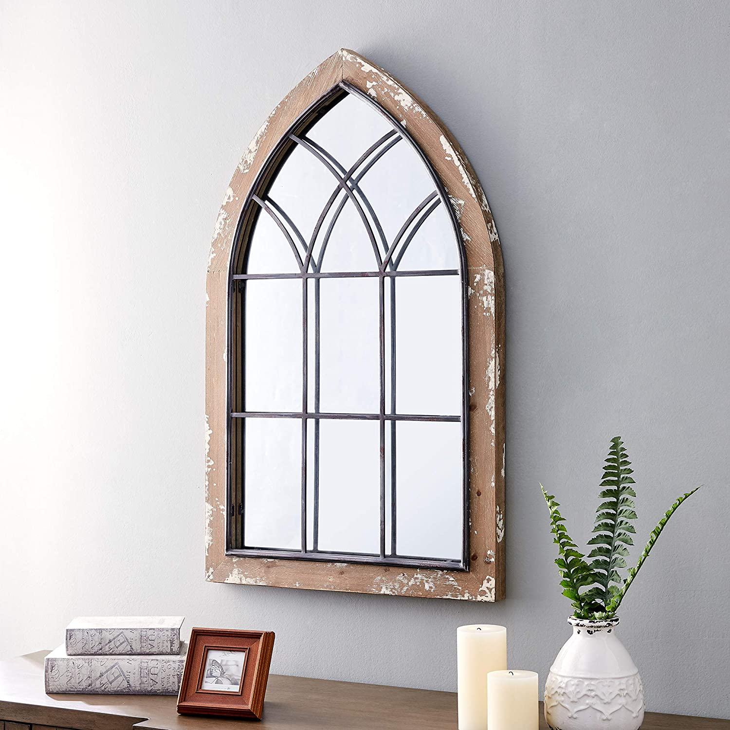 FirsTime & Co. Glen View Gothic Farmhouse Arch Mirror, American Crafted, Rustic Brown, , 24 x 2 x 36