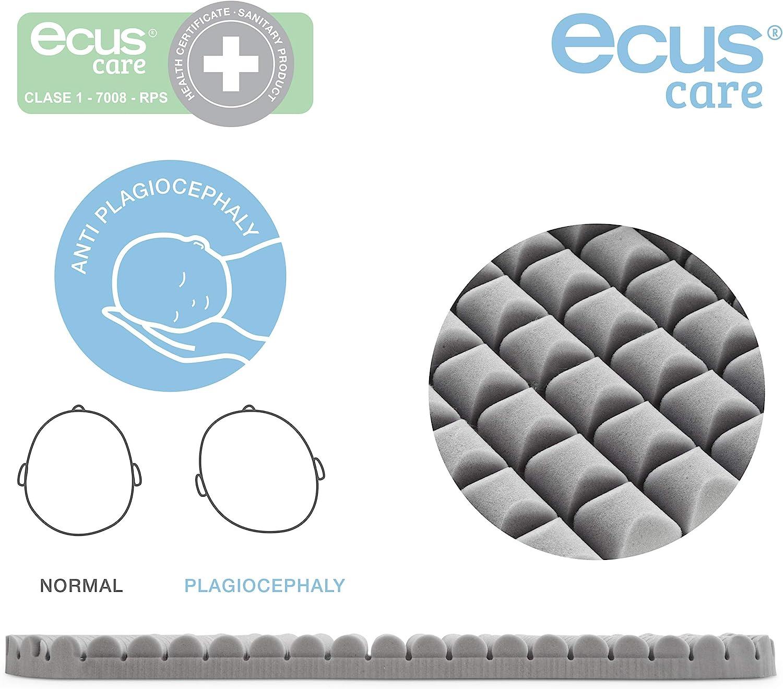 72x33x8cm. Ecus Kids France-Matelas de couffin Ecus Care avec certificat sanitaire pour la pr/évention de la plagioc/éphalie et anti-asphyxie