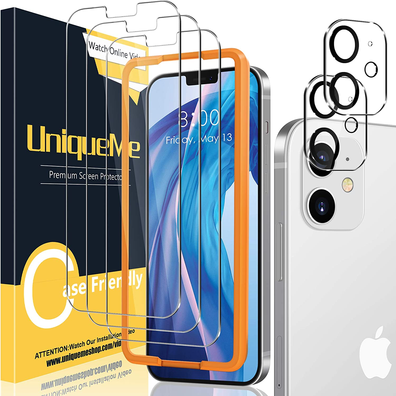 [2+3 Pack] UniqueMe Camera Lens Protector and Screen Protector Compatible with iPhone 12 6.1 inch Tempered Glass?Not for iPhone 12 Pro? [Easy Installation Frame] HD Clear [Anti-Scratch]