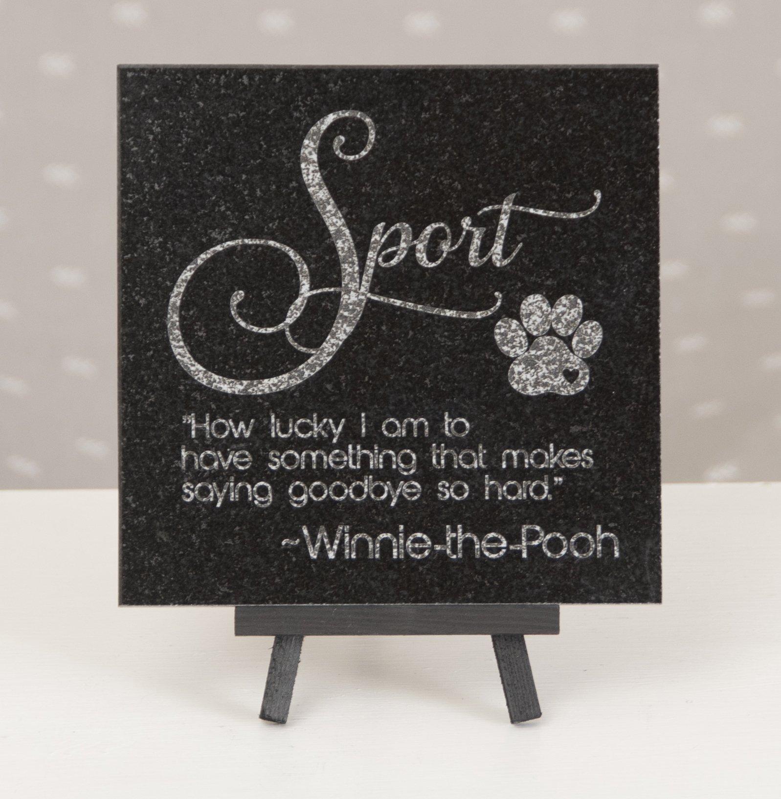 6 x 6 Engraved Granite Cat or Dog Memorial