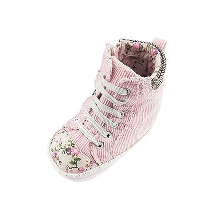 Élégant Doux Bébé Fille à semelles Jardin Anglais Fleurs Rose en velours côtelé haute Top Chaussures Formateurs