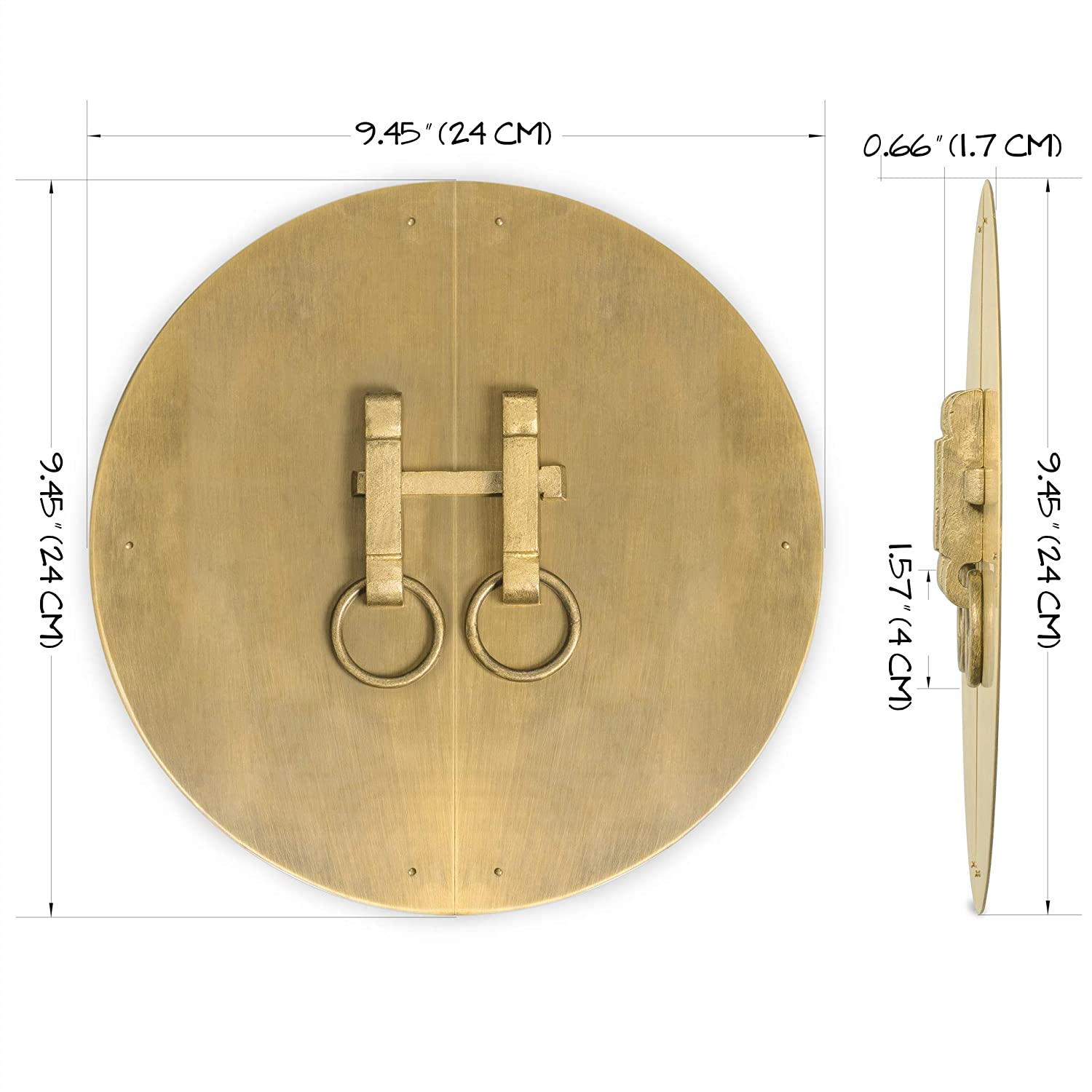 CBH Brass Button and Zipper Cabinet Face Plate Backplate Hardware Set 12-1//2