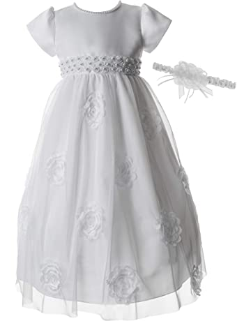 e73ef573214 Lauren Madison Baby Girls Pearl Appliqued Christening Dress with Soutache  Embroidery
