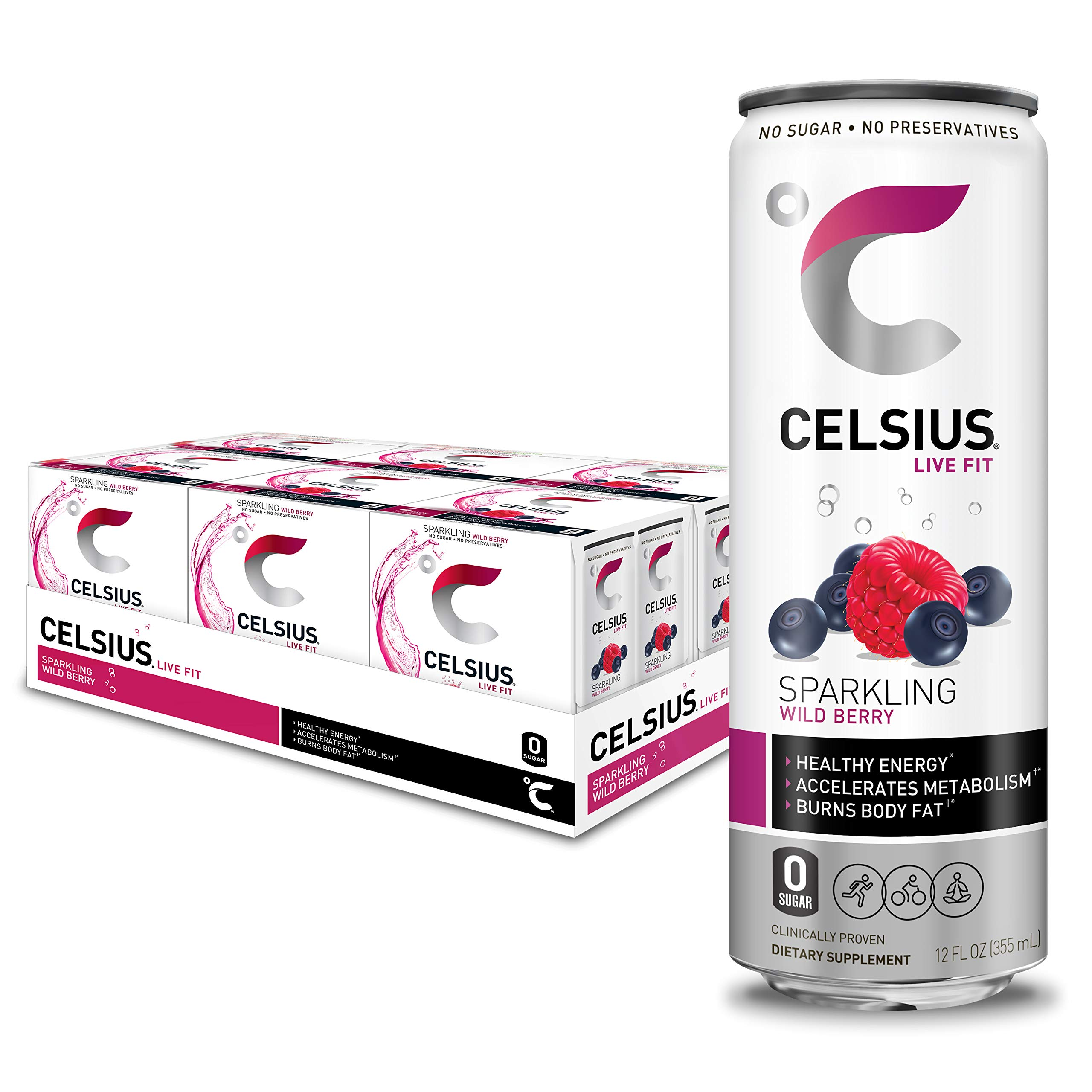 CELSIUS Sparkling Wild Berry Fitness Drink, Zero Sugar, Slim Can 4-Packs, 12 Fl Oz (Pack of 24)