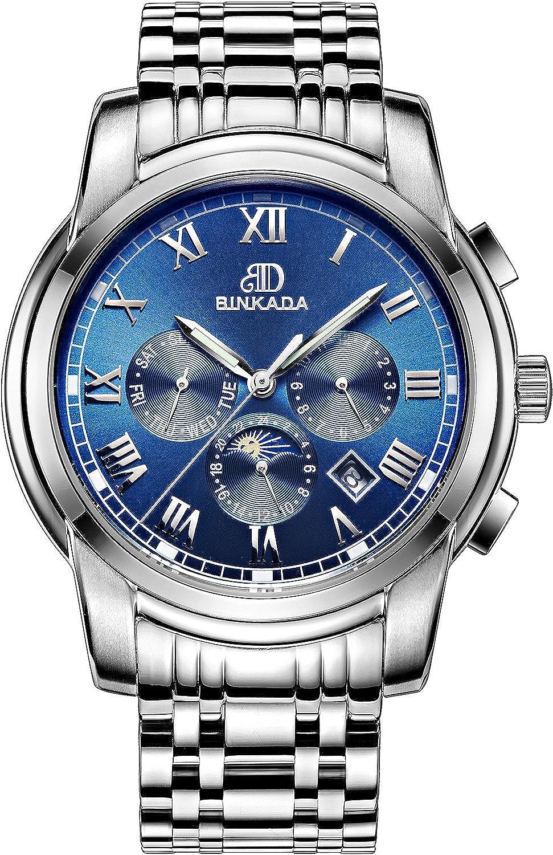 BINKADAモダン自動機械ブルーダイヤルメンズ腕時計# 7062b01 – 3 B01DZMFR7A