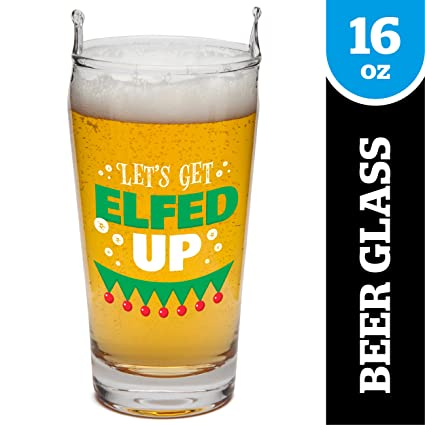 1be7b0dc4bd Amazon.com | BigMouth Inc. The Elfed Up Beer Glass- Hand Washable Holiday  Pint Glass with Funny Print, Makes a Great Gift- 16 oz: Beer Glasses