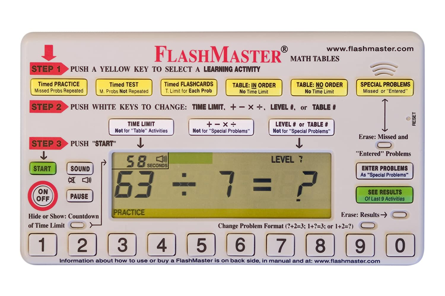 Flashmaster Handheld Computer for Mastering All Basic Math Facts that Makes Flashcards Obsolete MiToo
