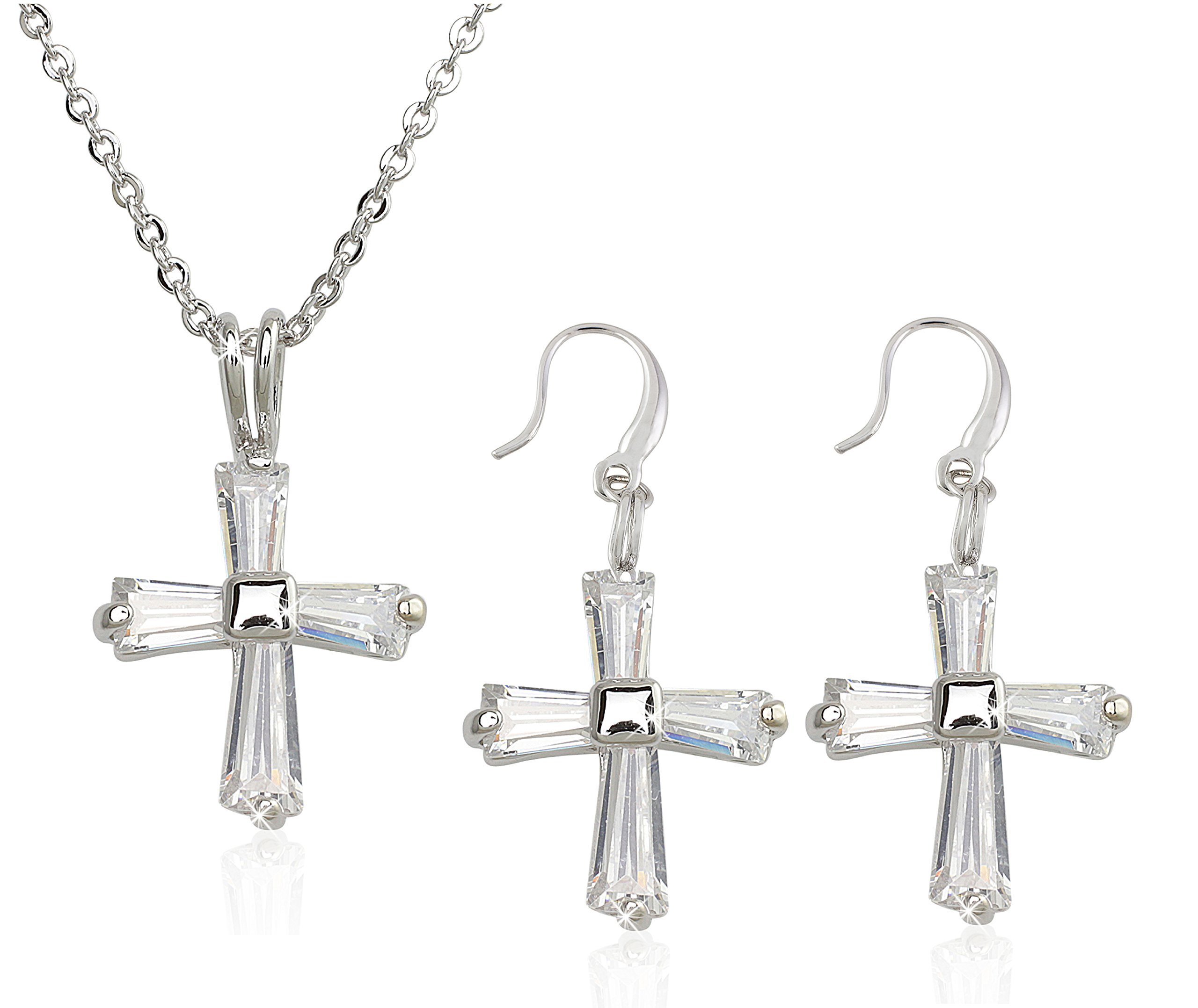 Holy Cross Necklace and Dangle Cross Earrings Set For Women - Sparkling Cubic Zirconia Gemstones That Turn Heads
