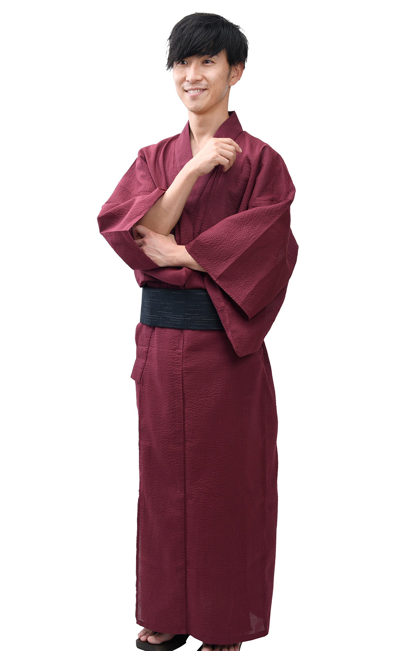 Edoten Men's Kimono Japan Shijira Weaving Yukata 753 Wine M
