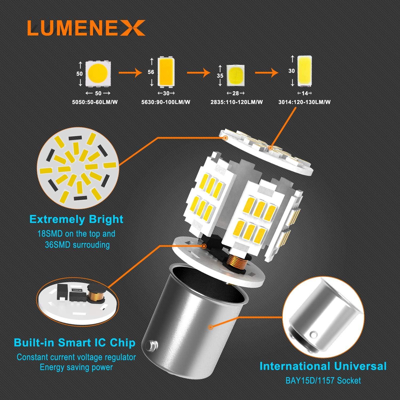 LUMENEX P21W 1157 BAY15D LED Bulb 12V Replacement for Car Brake Light,Tail Lights 6500k Xenon White 2PCS