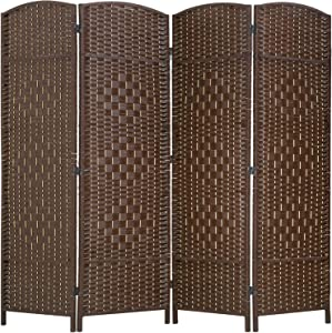 FDW Room Divider Folding Privacy Divider 6 Ft Indoor Wall Divider Portable Partition Wood Screen, Brown (4 Panel)