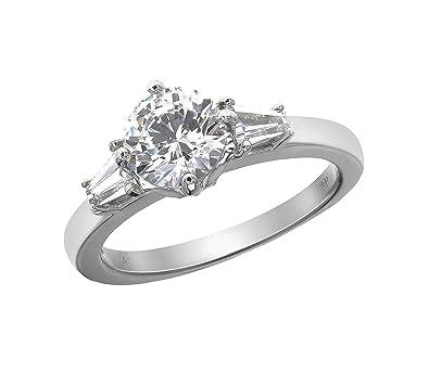 0aba27bb5 Myia Passiello Essentials Swarovski Zirconia Three Stone Clear Ring -  R3086801 - Size M: Amazon.co.uk: Jewellery