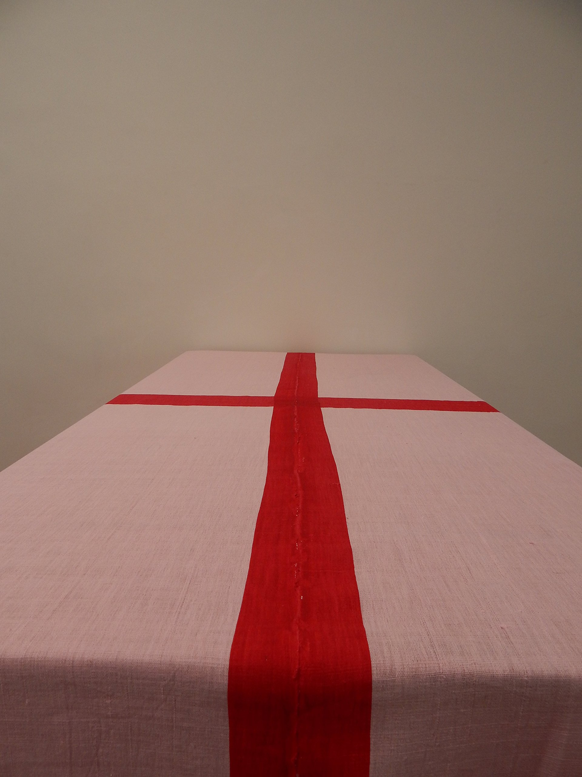 Gitika Goyal Home Cotton Khadi Red Screen Printed Tablecloth with Border Design, Pink, 72'' x 108''