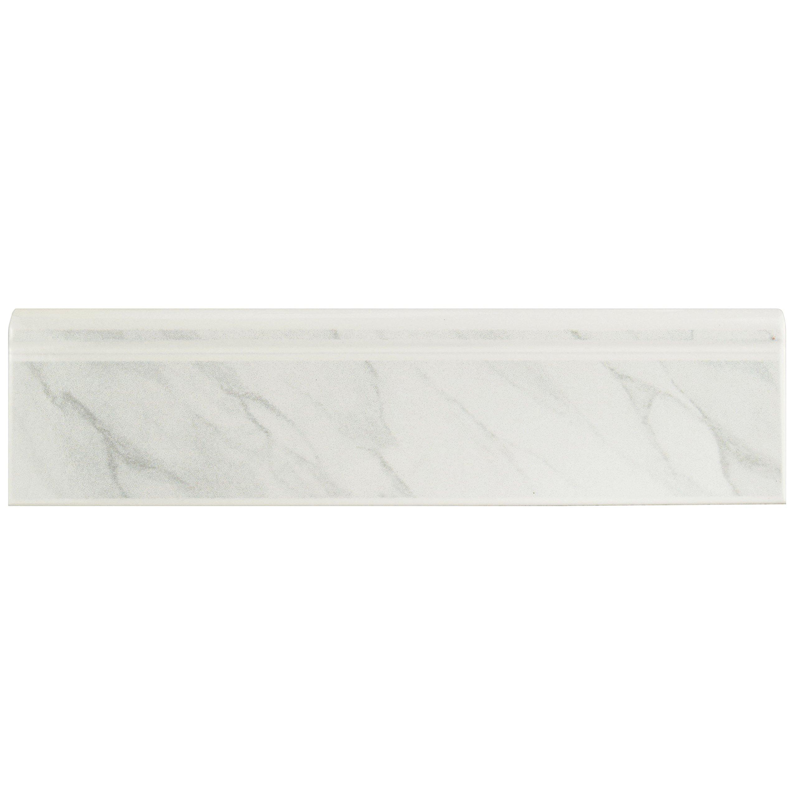 SomerTile WOSBTMWM Quadra Satin Marble Ceramic Base Trim Molding, 3.25'' x 12.375'', white/grey